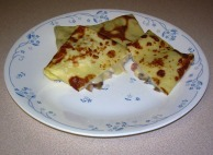 Filled Crêpes with Ham, Mushroom, Bechamel Sauce