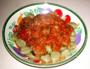 Gnocchi with Italian sausage in tomato sauce