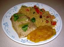 Mahi Mahi with Curry Couscous and Mango Sauce
