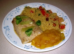 Mahi Mahi with Curry Couscous and Mango Sauce