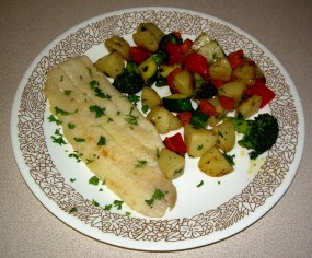 Sole Meuniere with Mixed Vegetables