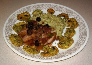 Duck Breast with Balsamic Sauce & Cherries with Pesto Risotto & Grilled Mushrooms