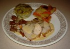 Turkey Roast with Shallots, Nuts & Armagnac Stuffing and Potato & Yam Gratin with Leek & Basil Flan in Cognac & Cream Sauce