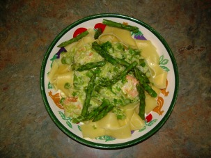 papardelle shrimp & asparagus